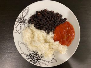 Black beans, rice, salsa vegan meal